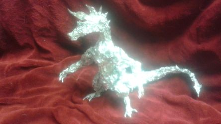 Adult Spike the Dragon - Aluminum Foil Sculpture by TheFoilGuy