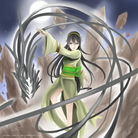 Toph: A Dance with the Metal Dragon by aionlights