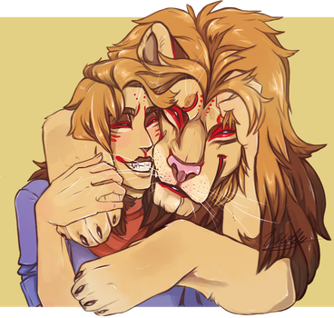 Lion hug by BabygobooM