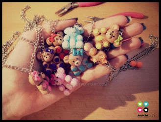 My Teddy Bear necklaces made out of polymer clay by Selmmma