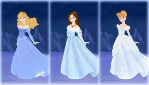 Aurora, Belle and Cinderella in blue by Arrelline