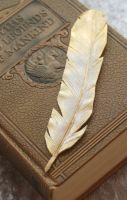Gilded Angel Feather Bookmark by Angelic-Artisan