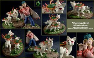 Commission : Okami, Afternoon Stroll by emilySculpts