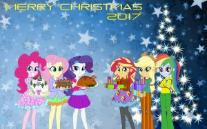 Mane 6 in Christmas Day by Karalovely