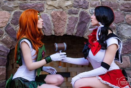 Sailor Harley Quinn and Ivy KISSY FACES by BLPcosplay