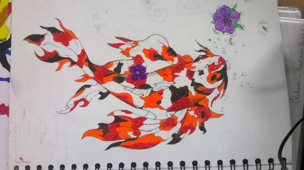 Koi fish: Finished in pen. by KoRJenny