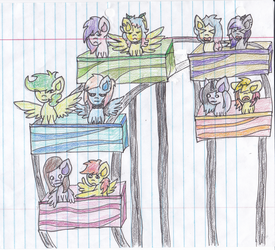 OCs Riding Rollercoaster (not all OCs are mine) by pegaSAI