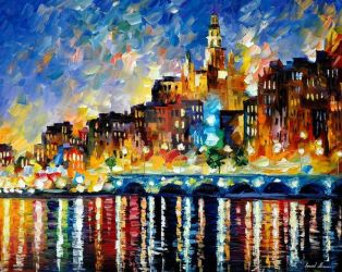 Glowing Harbor by Leonid Afremov by Leonidafremov