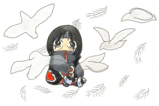 Itachi with crows by Lilaaku