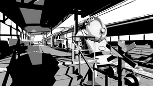 3d Train at Station -Ink Toon Render by JWraith