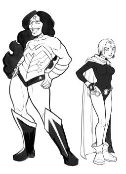 Wonder Woman and Raven sketches by ExMile