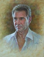 Harrison Ford portrait painting by Drawing-Portraits
