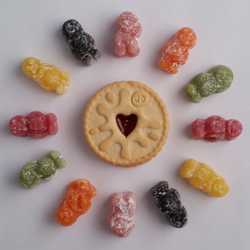 Jammie Dodger Surrounded By Jelly Babies by IridescentCatalyst