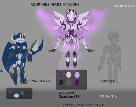 Adoptable1 FEMM-MINICONS by Madnessgrowl
