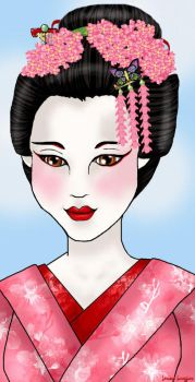 Geisha in the Spring by Lorissatrope