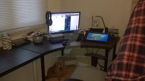 JBs work space and her creeper dog by JB-Pawstep
