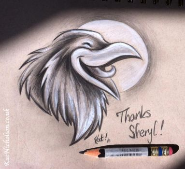 laughing raven patreon thank you sketch by KatCardy