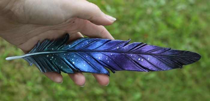 Raven Leather Feather by windfalcon