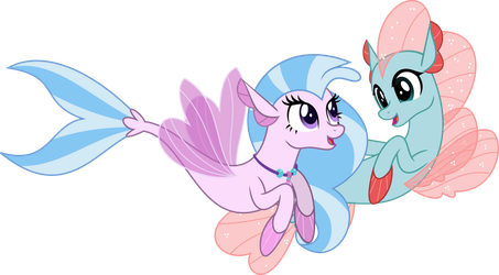 MLP Vector - Seapony Silverstream and Ocellus by jhayarr23