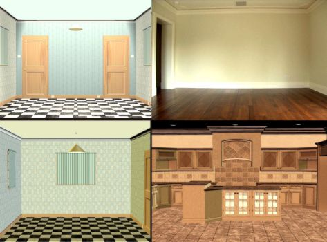 Doll House Rooms stock by mysticmorning