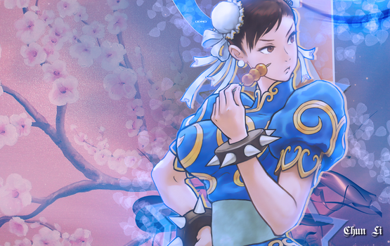 Chun and the Cherry Blossoms. by odigitalmaideno