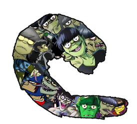 Murdoc Niccals Shrimp Collage by Randy-Litzgen