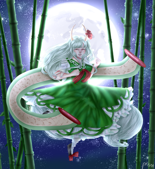 Hakutaku Under the Full Moon by prismpower