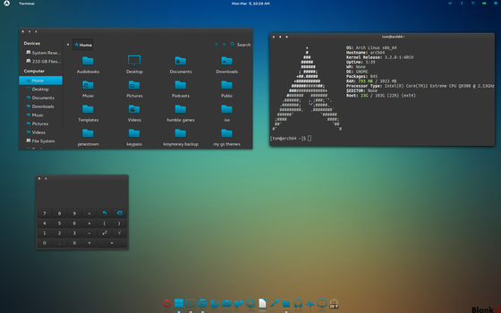 Arch Linux Gnome Shell Cool Colors by CraazyT