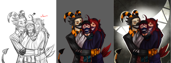 Smiley Family - Process by FrossetHjerte