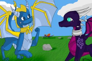 Spyro and the easter Eggs XD by TheDragonCat