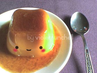 cute sweet flan and spoon by VioletLunchell