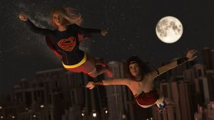 Supergirl and Wonder Woman by Edheldil3D