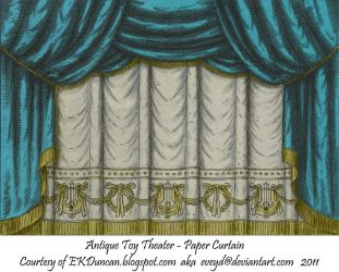 Teal Toy Theater Curtain 1 by EveyD