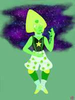 Peridot in suspenders and a bowtie by wolfbanefoxglove