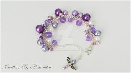 Cluster Bracelet-Lilac with Dragonfly Charm by WhiteMagicPriestess