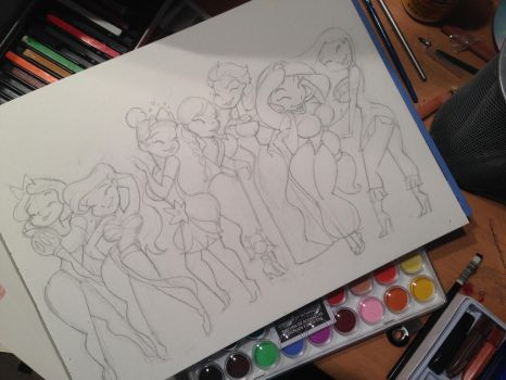 Princess Sketch for watercolor by Q7D2