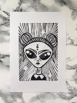 Space Girl Linocut Print by MyInterminableZent