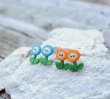 Fire and Ice Flower Earrings Nintendo by Tsurera