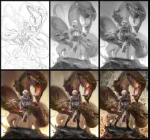 Dragon Tamer Process by JowieLimArt