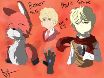 Marc Shine and Boxer (OC) character sheet by DinoLover123