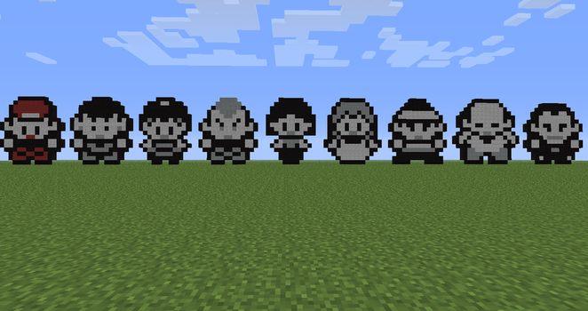 Red Plus All 8 Original Gym Leaders (Minecraft) by mjjfan10