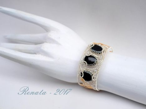 Bound by Hades - Bangle Bracelet (On Hand Model) by DreamsOfGems