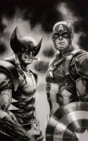 WOLVERIN and CAP by grandizer05
