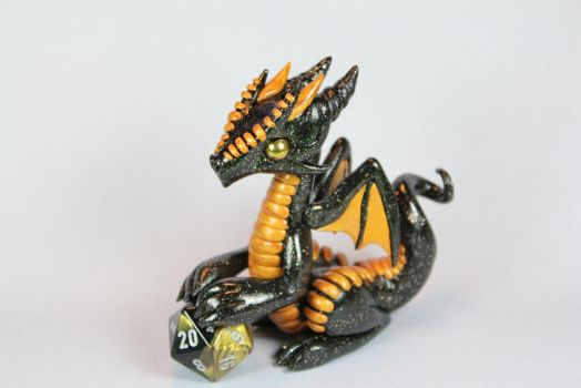 Polymer Clay Dragon Black and Gold by ShaidySkyDesign