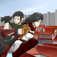 Attack on Titanfall: Cooper and Mikasa by sketchingchaos
