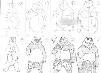 Style Practice - Bear,Po,Shan and Young Shan by Mega-Charizar