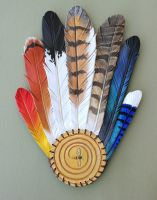 Leather Feather Ritual Fan by windfalcon