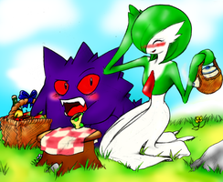 Gardevoir and Gengars picnic by FaisLittleWhiteRaven