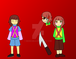 Arcadetale Oc Frisk and Chara by NeonCarla