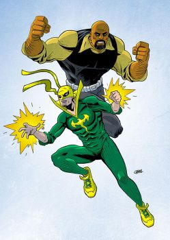 Luke Cage and Iron Fist by Cabbral
